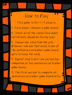 FREE Which Witch Homophone Game Directions